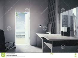 open office door beach view stock illustration image 73192689