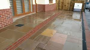 Drainage Patio Indian Sandstone Patio Aco Drain Disability Access Ramp Caerphilly