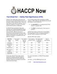 haccp fact sheet 1 risk assessment