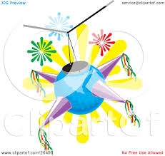 clipart illustration of a blue and purple mexican pinata hanging