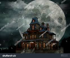 spooky vintage halloween haunted house creepy haunted house weathered stock illustration