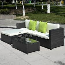 Wicker Sectional Patio Furniture by 5 Pc Wicker Rattan Sofa Cushioned Set Outdoor Furniture Sets