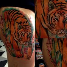 flowers on thigh colored tiger thigh tattoo tiger thigh tattoos pinterest tattoo