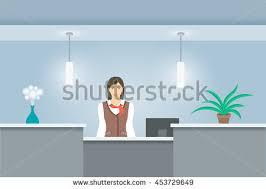 Flat Pack Reception Desk Set Modern Flat Office Icons Long Stock Vector 182046296
