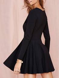 Long Sleeve Black Fit And Flare Dress Black Fit And Flare Dress Mesh Bodice Long Sleeves Straight