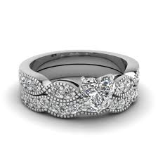 wedding set heart shaped diamond milgrain weave wedding set in 14k white gold