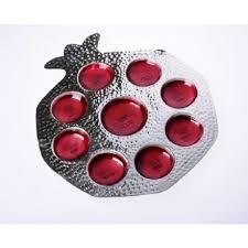rosh hashanah seder plate hammered pomegranate rosh hashanah seder plate