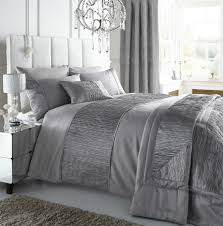 silver colour stylish textured faux silk duvet cover luxury