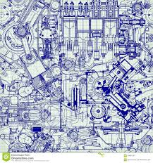 creative seamless pattern made up of drawings old motors stock