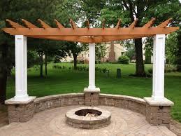 brick paver fire pit and cedar trellis brick patio fire pit