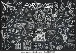 New Year Decoration On Blackboard by Set Decoration Illustration On Blackboard Vector Stock Vector