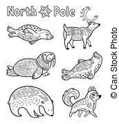 vector illustration of arctic animals for coloring book vector