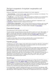 components of a good cover letter the basic components of employee compensation and benefits