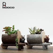 roogo creative stump style flower pot resin tree imitation garden