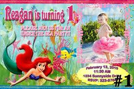 little mermaid ariel personalized photo birthday invitation