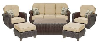 Patio Furniture Set Breckenridge Tan 6 Pc Patio Furniture Set Swivel Rockers Sofa