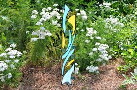 Rocking Bird Garden Ornament by Stained Glass Garden Ornament Blue And Yellow Yard Art