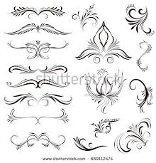 set calligraphic element beautiful ornament elements stock vector