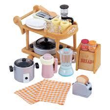 sylvanian families kitchen cookware u0026 trolley set 6 00