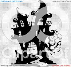 halloween transparent background clipart of a sketched black and white haunted halloween mansion
