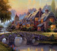 kinkade s painting of cottage d assorted