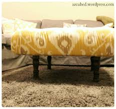 Diy Ottoman From Coffee Table by Diy Tufted Ikat Ottoman From Upcycled Pallet With Tutorial