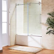 glass door in bathroom vigo 60 in x 66 in frameless sliding tub door in stainless steel