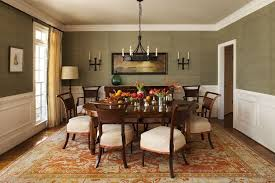 Formal Dining Room Chandelier Amazing Floral Printed Carpet And Green Wall Color Using