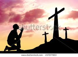 silhouette praying cross heavenly cloudscape stock illustration