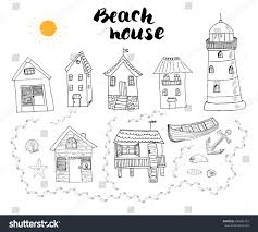 beach huts bungalows hand drawn outline stock vector 400896103