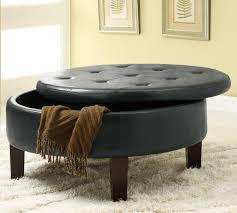 furniture different storage round black leather tufted ottoman