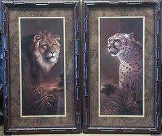 home interiors cuadros set of 4 pictures elephant zebra giraffe cheeta leopard black