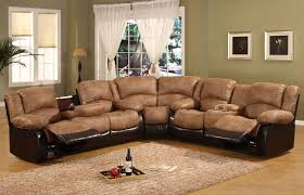 Affordable Sectional Sofas Two Tone Brown Leather Sectional Sofa With Reclining Combined With
