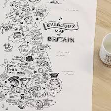 Map Of Britain Map Of British Food Tea Towel By Jollysmith Notonthehighstreet Com