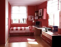 study room with bed yellow wall tile purple painted wooden