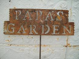 rustic tin papa u0027s garden stake yard decor