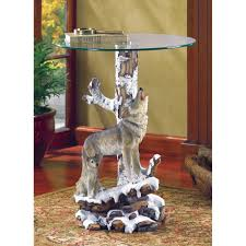 Glass Top Accent Table Amazon Com Wolf Sculpture Base Accent Side Table With Glass Top
