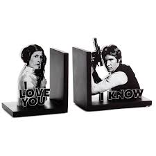 star wars han solo and princess leia bookends set of 2 desk