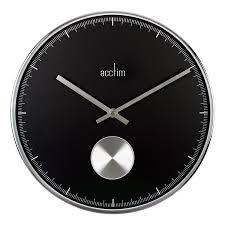 silver hands black wall clock modern co uk