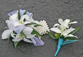 white orchid corsage white and white blue flowers bf0488 white orchid