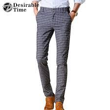 men plaid casual pants plus size 28 38 2017 new fashion mens dress