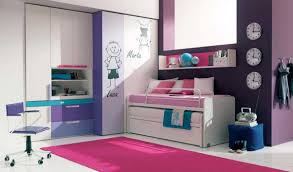 cool furniture for teenage bedroom with white and purple colors