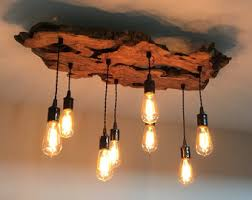 Hanging Bulb Chandelier Custom To Order Create Your Own Medium Live Edge Olive Wood
