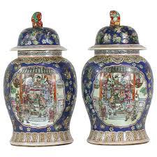 foo dog for sale pair of large porcelain cobalt covered jars with