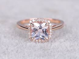 7mm diamond 7mm morganite princess cut engagement ring diamond wedding ring