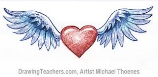 Hearts With Wings - how to draw a with wings