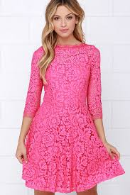 pink dresses beautiful lace dress pink dress skater dress 64 00