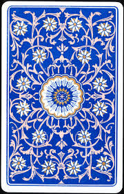 royal blue and flower back of vintage playing card i ordered this