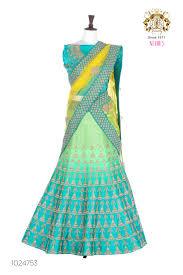 buy green color velvet fabric lehenga online