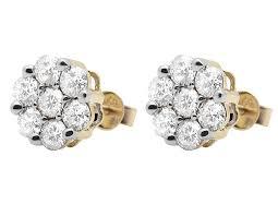 real diamond earrings 14k white gold mens diamond 6mm prong cluster stud